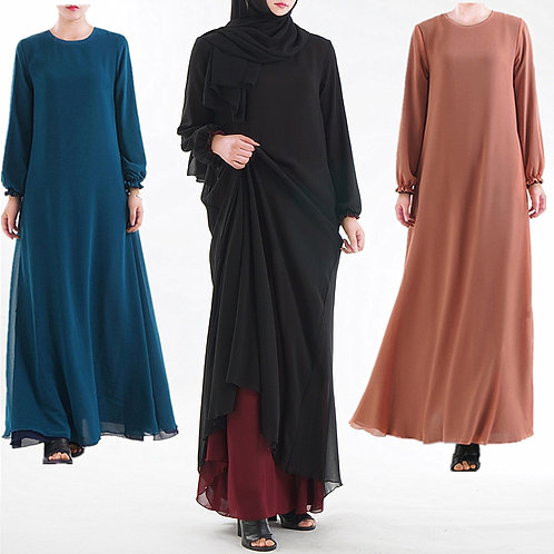 Double Sided Wear Muslim Dress Middle East Ramadan Arab Islamic Clothing Dress