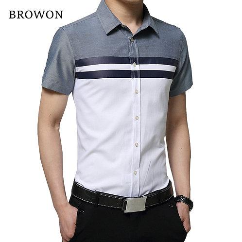 Mens Shirt Fashion Short Sleeve  Regular Fit Striped Design