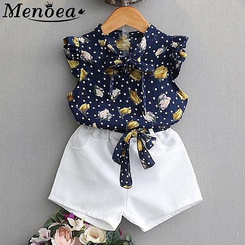 Menoea 2020 Brand New Summer Girls Green Sleeveless Clothing Kids Floral