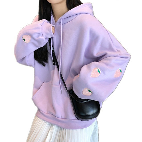 Harajuku Strawberry Embroidery Lavender Pink Sweatshirt Autumn Winter Women