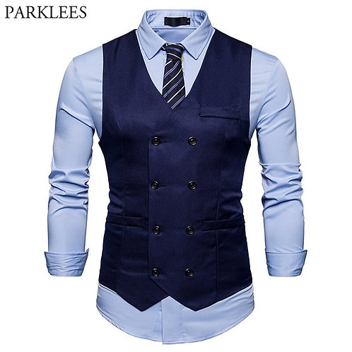 New Double Breasted Suit Vest Men 2018 Brand Slim Fit Sleeveless Waistcoat Mens