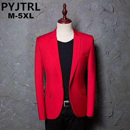 PYJTRL Brand Men's Casual Red Suit Jacket Wedding Slim Fit Men Blazer