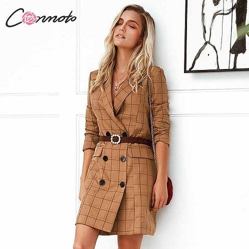 Conmoto Vintage Khaki Plaid Women Blazer Dress 2019 Autumn Slim Long Blazer