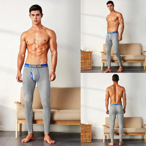 SEOBEAN Rmen's Long Johns Trousers Tight Plus Velvet Themal Cotton Solid