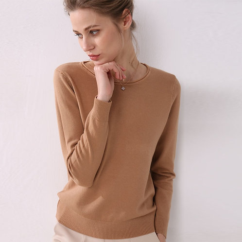 Women Knitting Sweater Long Sleeves Curled O-Neck Collar Female Shor