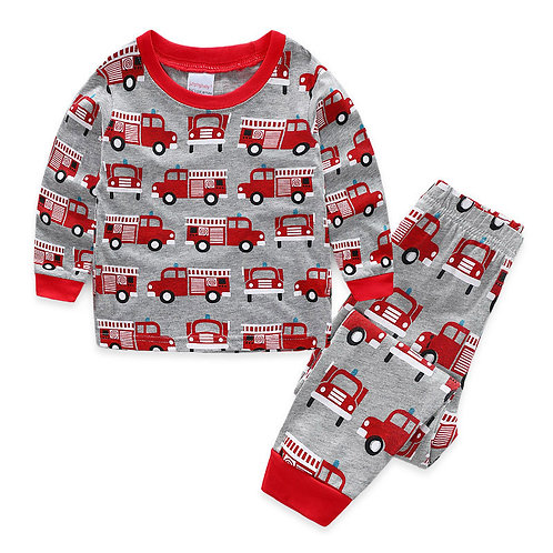 Children Clothing Sets 2pcs Sleepwear  Cute Fire Truck Cartoon Pyjamas