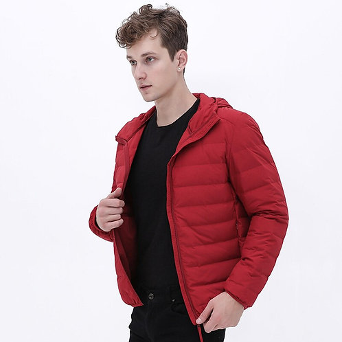 New Man Ultra Light Down Jacket Hooded Soft Matt Fabric Waterproof Down Jackets