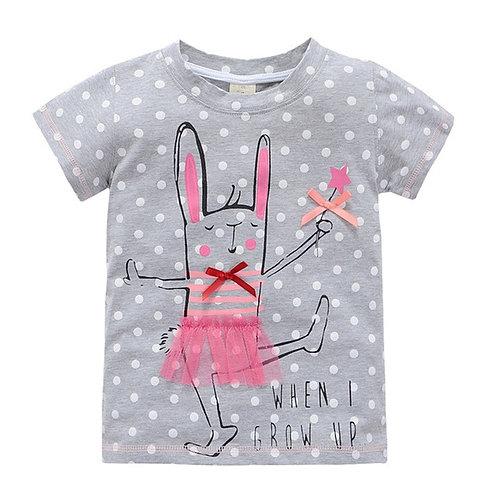 Baby Girls Cartoon T-Shirts Tops Tees Kids Girls Short Sleeve Cotton Horse