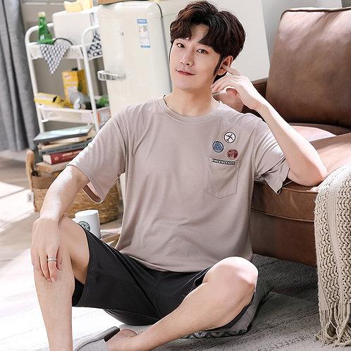 Pullover Short Sleeve Pants Pajama PURE Cotton Summer Boy Man Jammies O-Neck