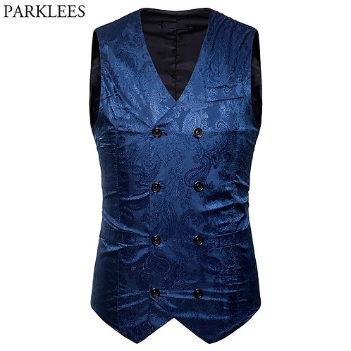 Men's Paisley FloralFashion Double Breasted Men Waistcoat Colete Casual Business