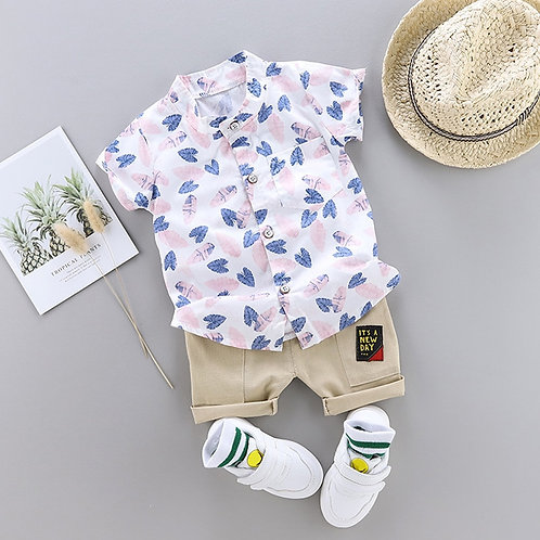 Toddler Baby Boy Summer Shirt Clothing Suit Fashion Leaf Print Set