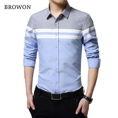 Mens Shirts  Slim Fit Patchwork Stripe/ Long Sleeve Shirt
