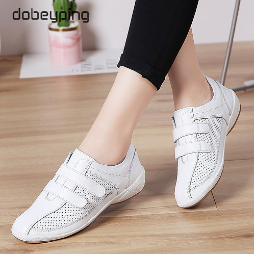 Autumn Women Sneakers Cut-Out Woman Loafers Genuine Leather Female Shoes
