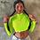 Thumbnail: Long Sleeve Zipper Patchwork Sexy Crop Tops  Women Neon Bodycon T-Shirts