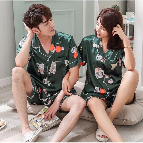 FZSLCYIYI Sleepwear Couple Pajamas Pijamas Men Satin Pyjama Man
