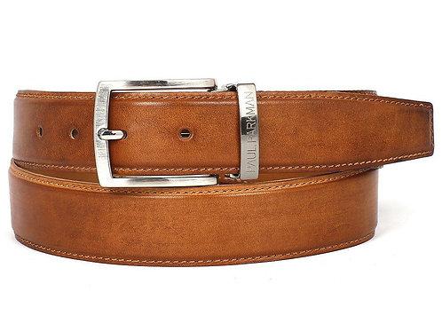 PAUL PARKMAN Men's Leather Belt Hand-Painted Tobacco (ID#B01-CML)