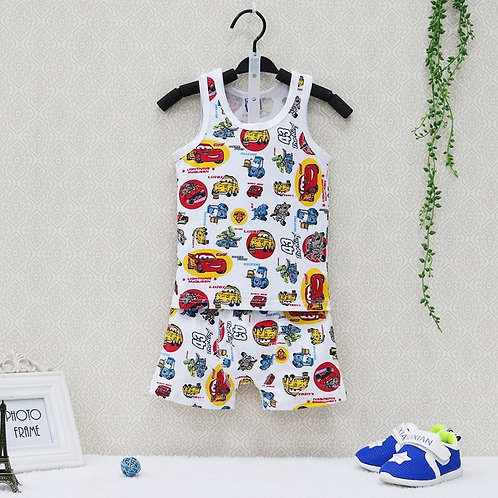 2019 Little Q New Style Summer Pure Cotton Boys O Neck Clothing Set Children