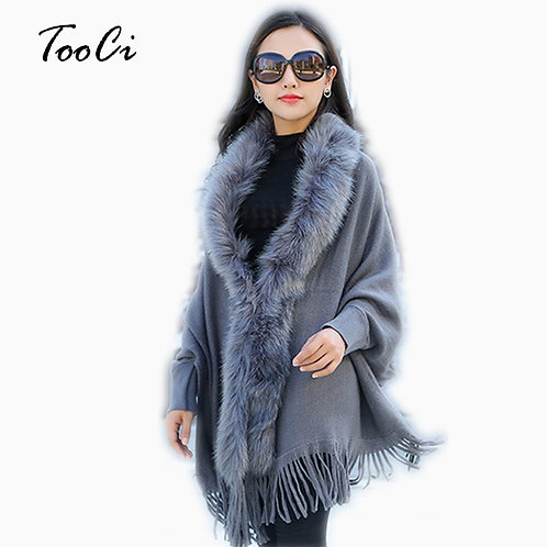 Women Faux Fur Collar Shawl Cardigan Gray Women Tassel Knit Cardigan Sweater