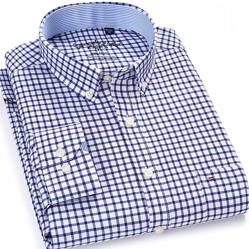 Men's Plaid Checked Oxford Button-Down Shirt Single Patch Pocket Casual Shirts