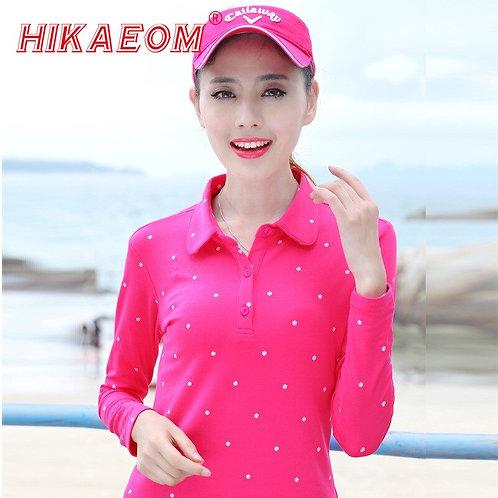 Autumn Polo Shirt Female 2018 New Women Slim Thin Snow Printed Dot