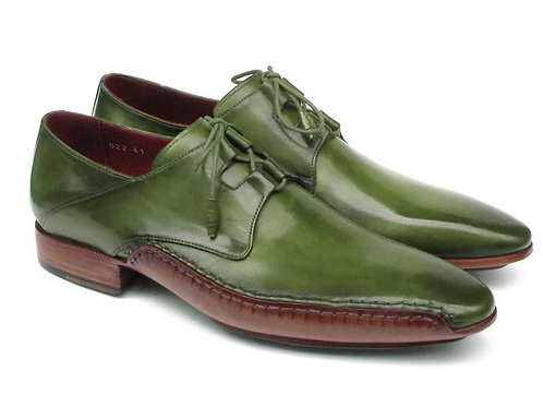 Paul Parkman Men's Ghillie Lacing Side Handsewn Dress Shoes - Green/ Leather