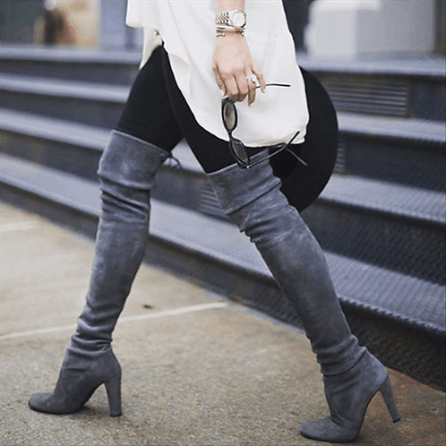 Women Thigh High Boots Fashion Suede Leather High Heels Lace Up Female