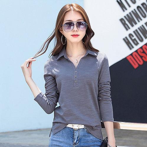 Fashion Women Long Sleeves Shirt Loose Polo v Neck Button Shirt