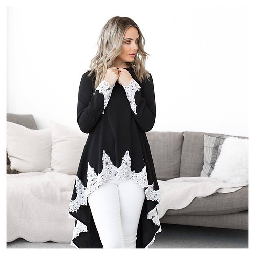 Fashion High Quality Girl's Blouse Patchwork Lace Long Sleeve Casual Top Swallow