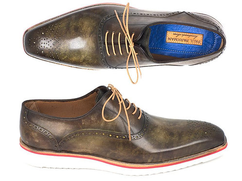 Paul Parkman Smart Casual Oxford Shoes for Men Army Green