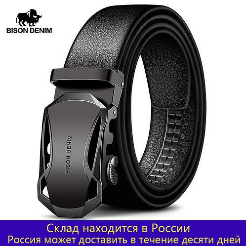 BISON DENIM Men's Belt Cow Leather Belts Brand Fashion Automatic Buckle Black