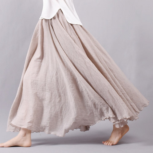 Sherhure 2020 Women Linen Cotton Long Skirts Elastic Waist Pleated Maxi Skirts