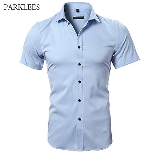 Short Sleeve Mens Dress Shirts Casual Slim Fit Easy Care Solid