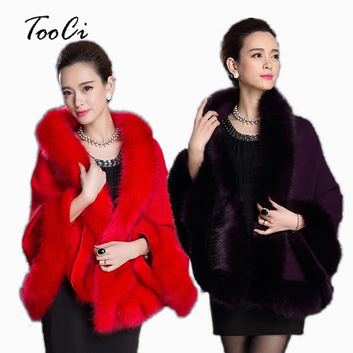 New Fashion Spring Women Coat Leather Grass Fox Fur Collar Ponchos and Capes