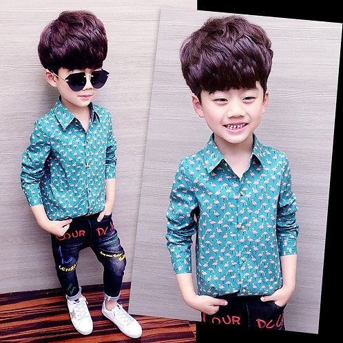 Boys Shirt Children's Clothing Long-Sleeved Cotton Spring and Autumn