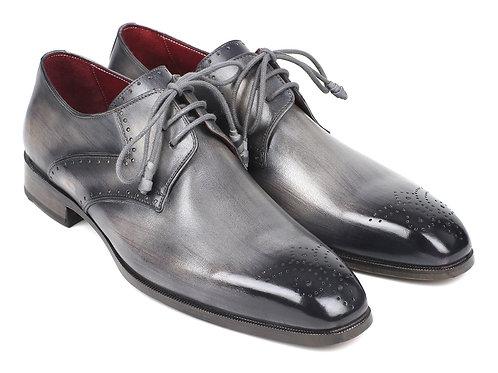 Paul Parkman Men's Gray Medallion Toe Derby Shoes
