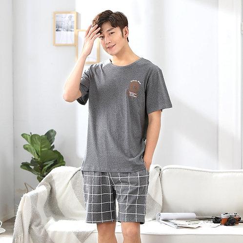 Men's Pajamas Set Summer Short-Sleeve Cotton Nightwear Striped Home Wear Suits