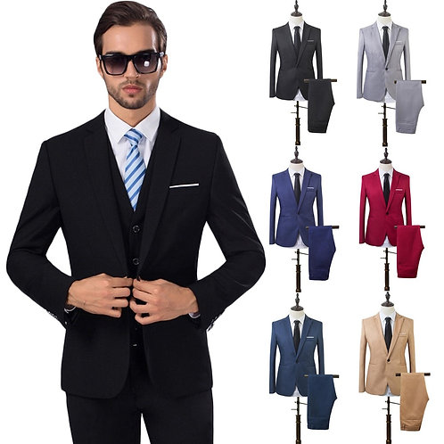 2 Pcs Mens Fashion Plaid Boutique Formal Business Suit Jackets Men