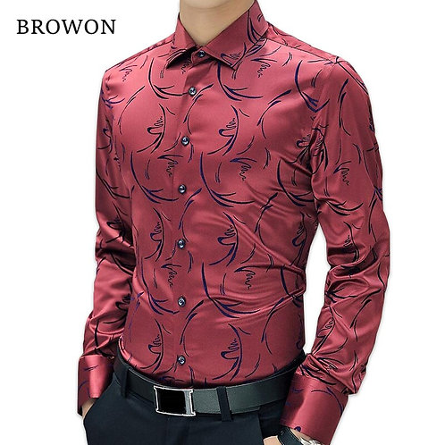 Mens Formal Shirts Long Sleeve Floral Men Shirt