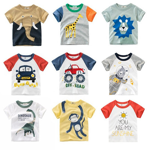 Summer Kids T-Shirt Baby Boy T-Shirts Cartoon Elephant Dinosaur Print Short