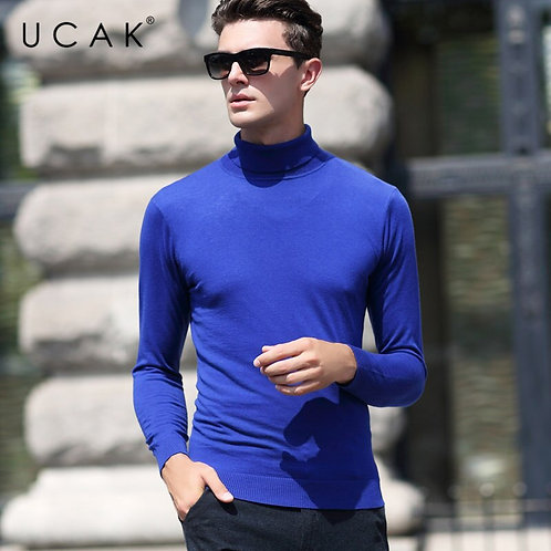 UCAK Brand Sweater Men Classic Casual Pull Homme Pure Merino Wool Pullover Men