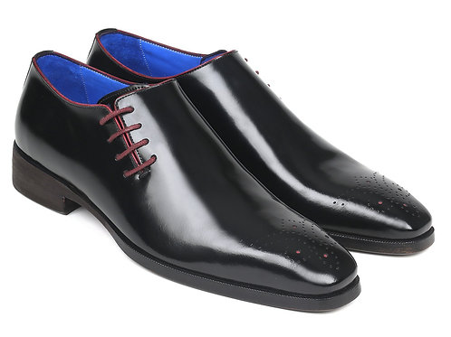 Paul Parkman Side Lace Oxfords Black Polished Leather