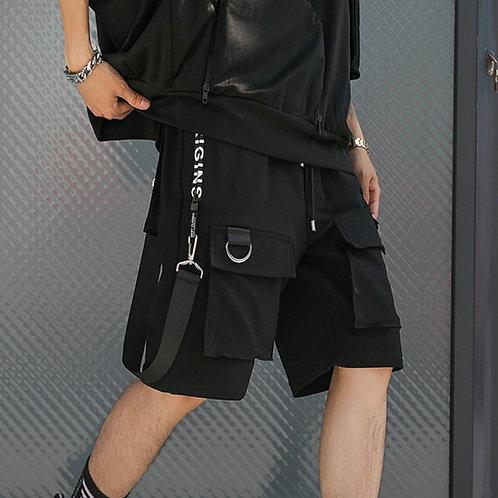 Hip Hop Summer Shorts Men 2020 Black Ribbons Streetwear Bermuda Man Shorts