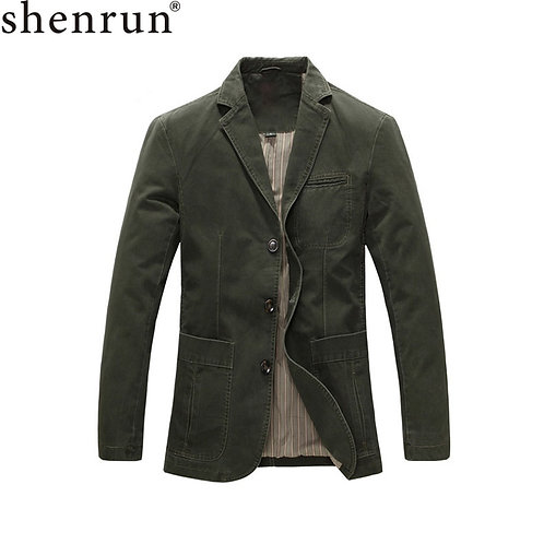 Shenrun Men Casual Blazer Military Jacket 100% Cotton Spring Autumn Suit Jackets