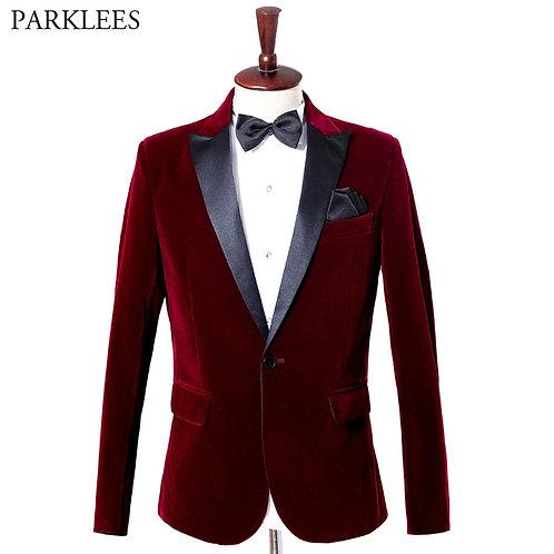 Wine Red Velvet Blazer Men 2019 Fashion Leisure Suit Jacket Men Wedding