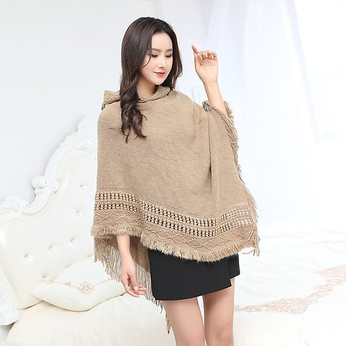 Women Sweater Hooded Poncho and Cape Knitted Sweaters