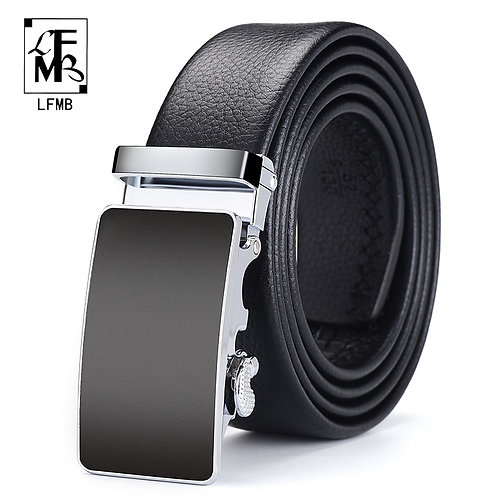 Men Belt Automatic Genuine Leather Luxury Black Belt Men's BeltsAutomatic Buckle