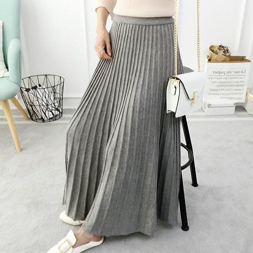 Women's Autumn Draped  Rib Pleated Long Knitted Skirt