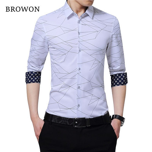 Mens Dress Shirts Men Shirt Long Sleeve Geometric Print