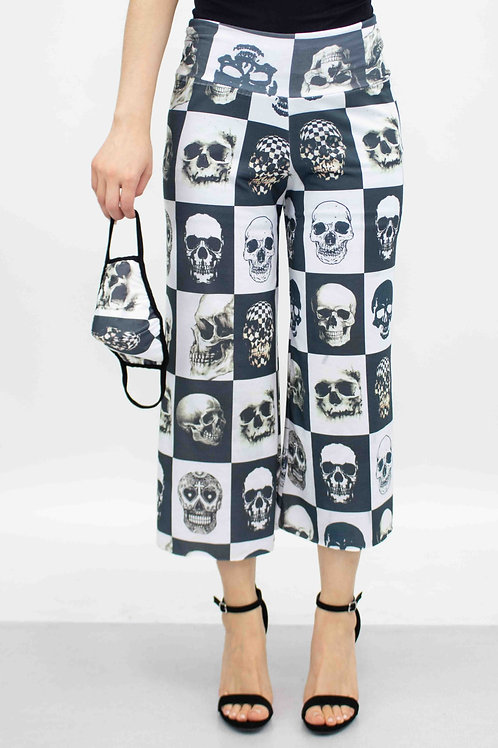 Checkered Skull Cropped Gaucho Pants and Mask