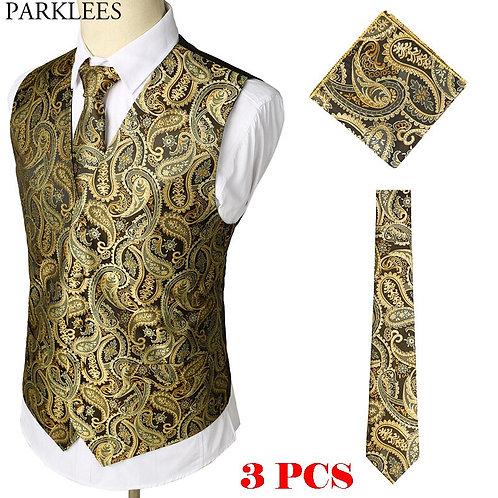 Gold Paisley Floral Jacquard 3pcs Vest Hankerchief Set Brand Slim Fit Business